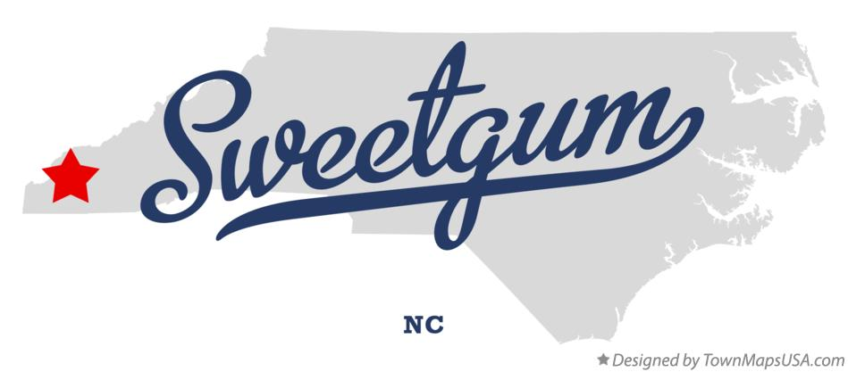 Map of Sweetgum North Carolina NC