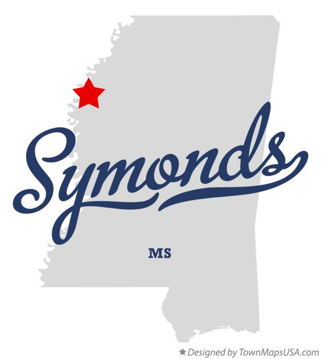 Map of Symonds Mississippi MS