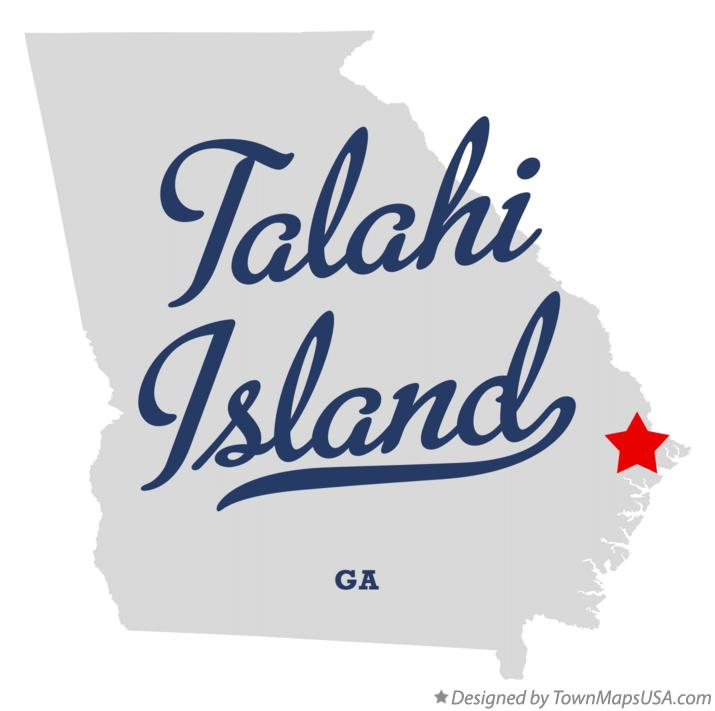 Map of Talahi Island Georgia GA