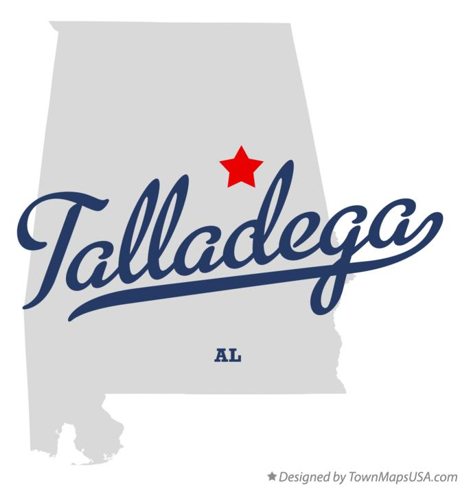 Map of Talladega Alabama AL