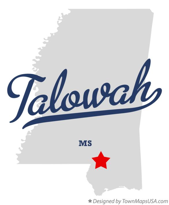 Map of Talowah Mississippi MS