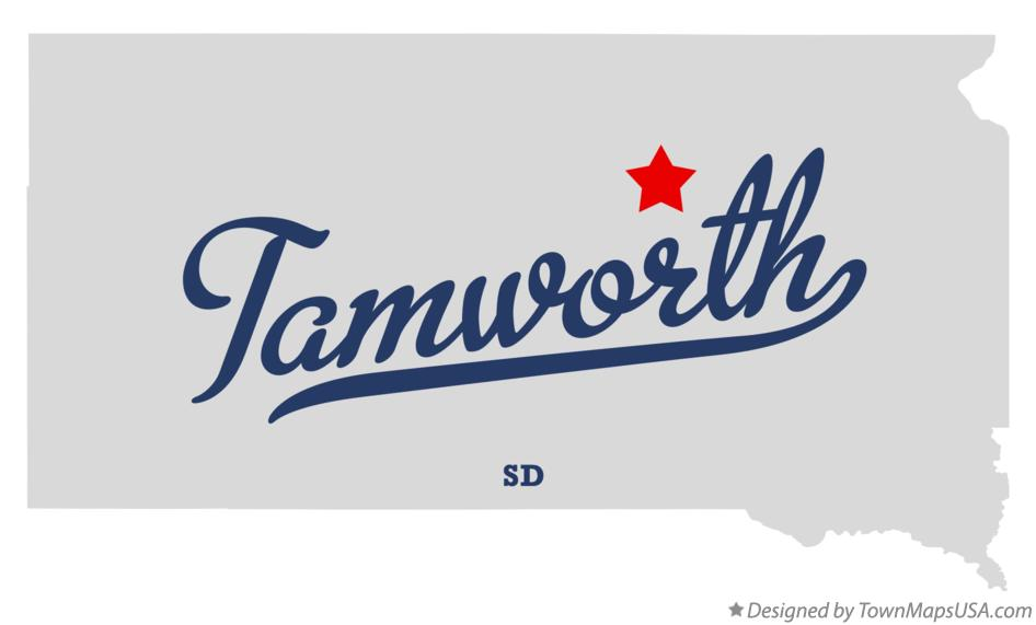 Map of Tamworth South Dakota SD