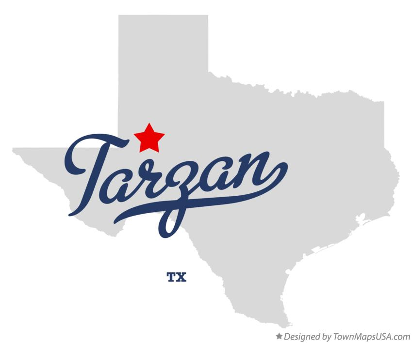 Map of Tarzan Texas TX