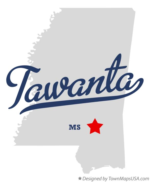 Map of Tawanta Mississippi MS
