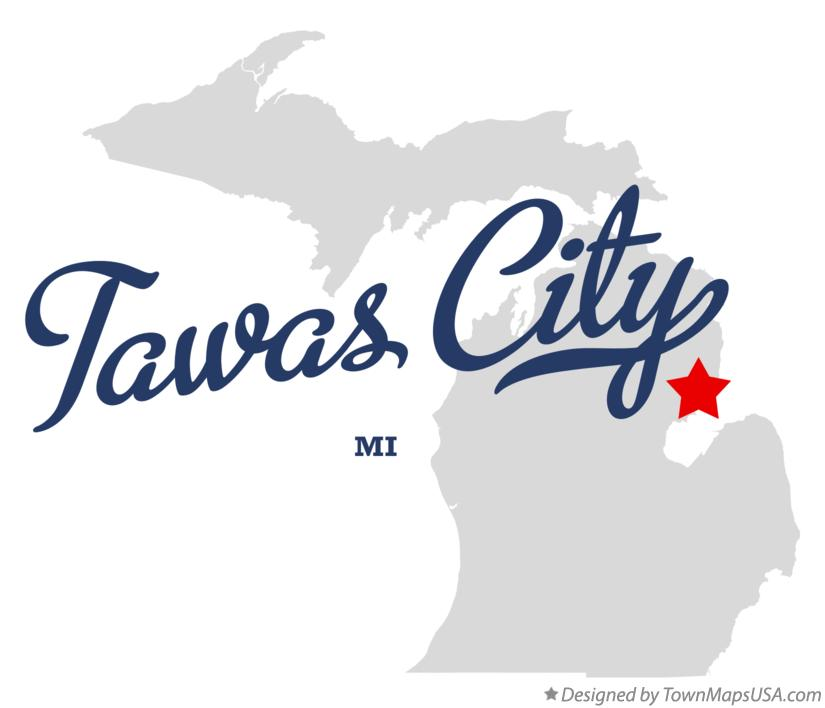 Map of Tawas City Michigan MI