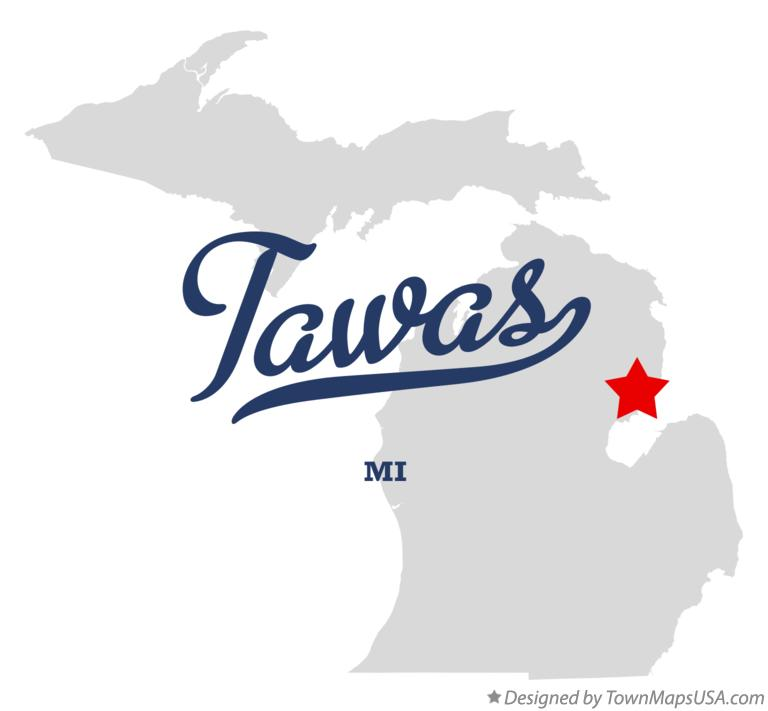 Map of Tawas Michigan MI