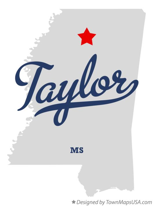 Map of Taylor Mississippi MS