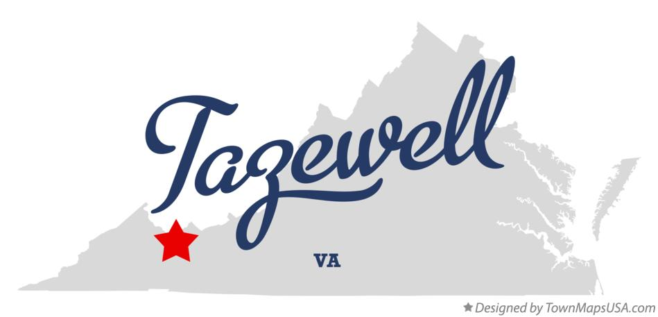 Map of Tazewell Virginia VA