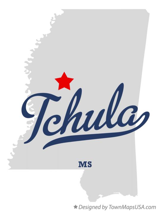 Map of Tchula Mississippi MS