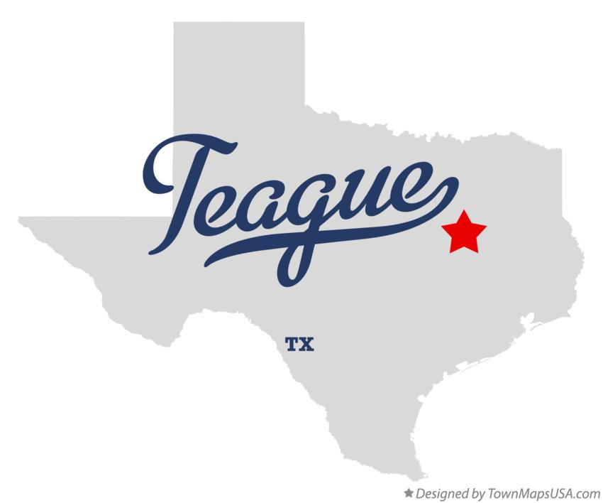 Map of Teague Texas TX