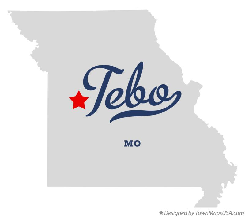 Map of Tebo Missouri MO