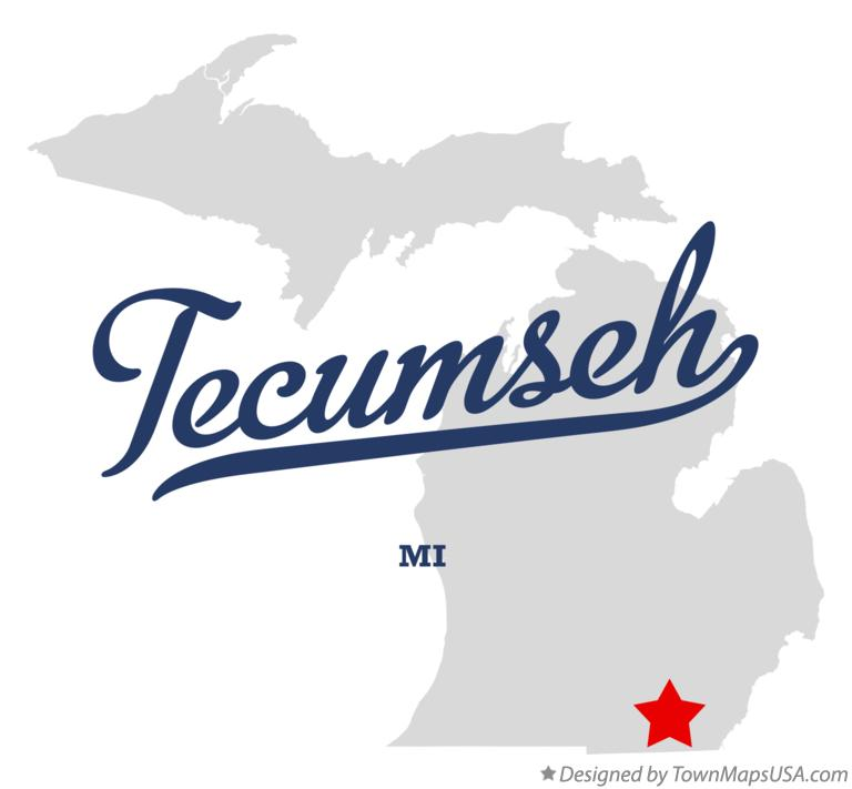 Map of Tecumseh Michigan MI