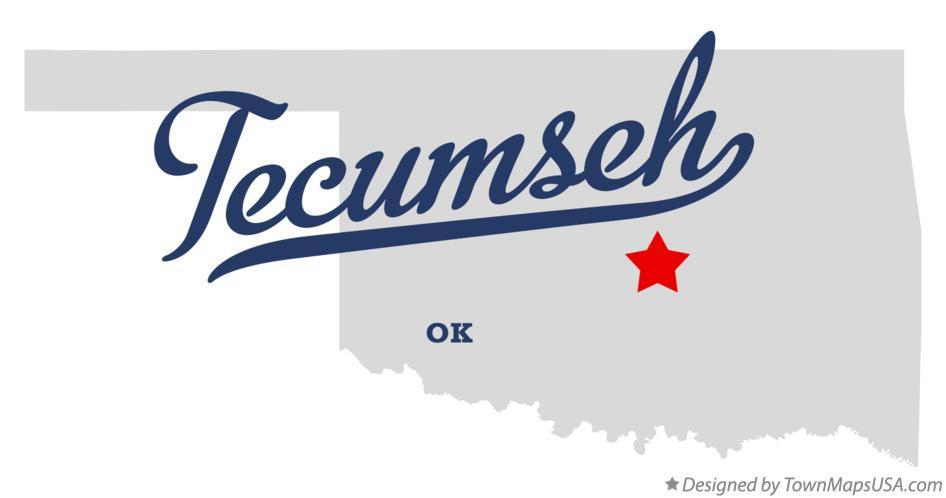 Map of Tecumseh, OK, Oklahoma