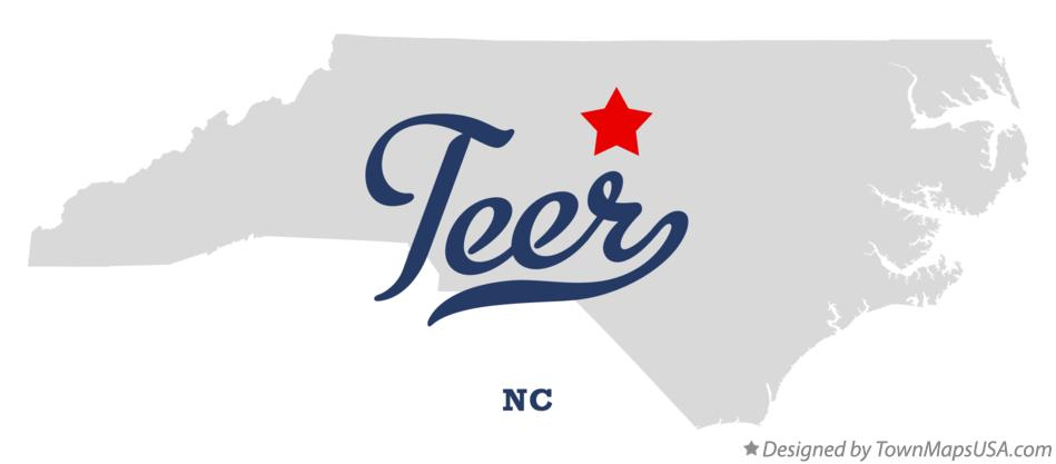 Map of Teer North Carolina NC