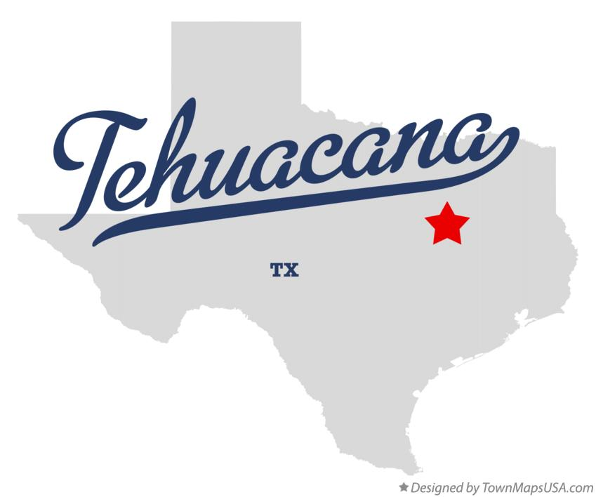 Map of Tehuacana Texas TX