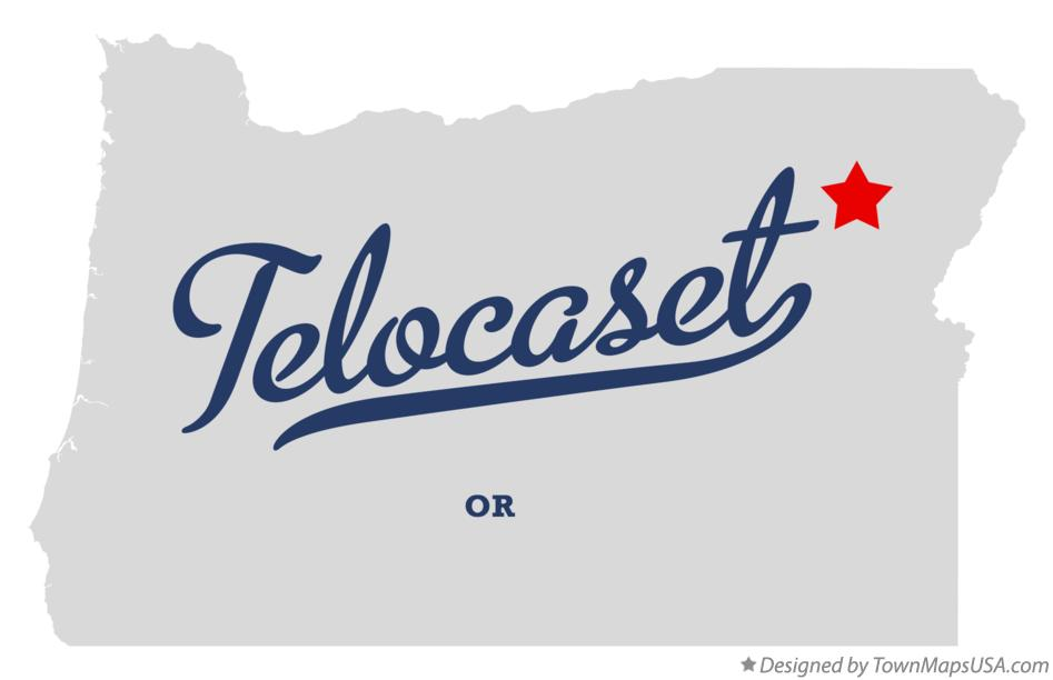 Map of Telocaset Oregon OR