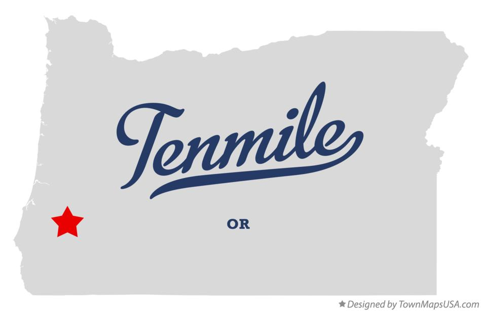 Map of Tenmile Oregon OR