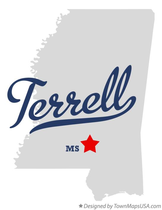 Map of Terrell Mississippi MS