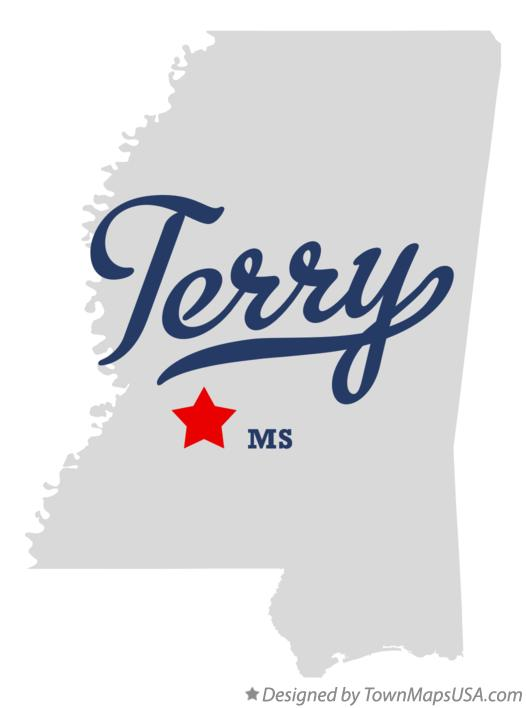 Map of Terry Mississippi MS