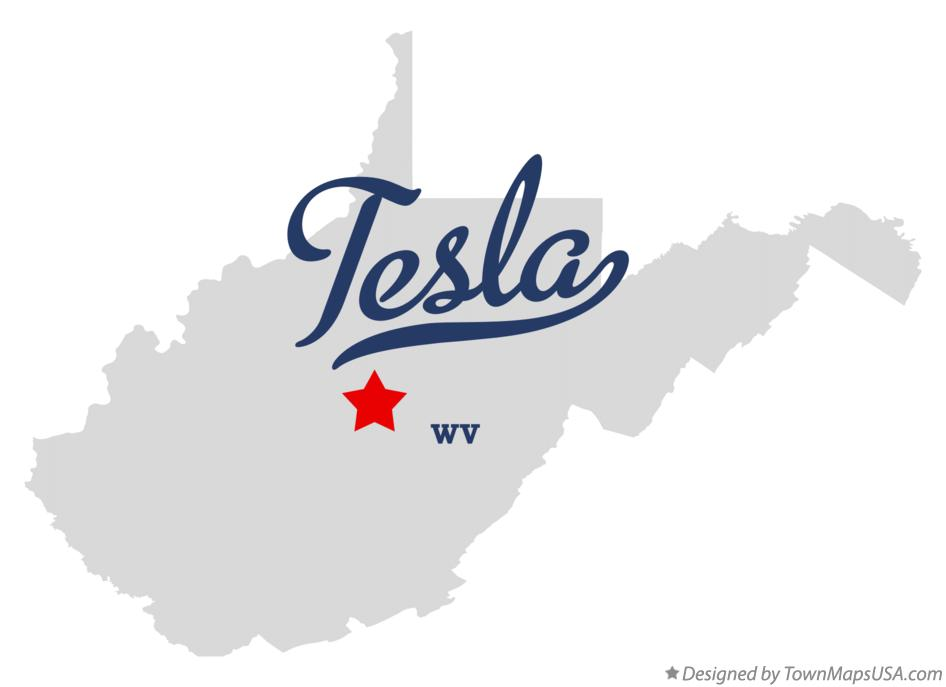 Map of Tesla West Virginia WV