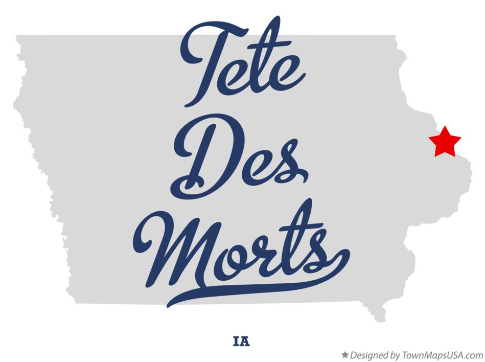 Map of Tete Des Morts Iowa IA