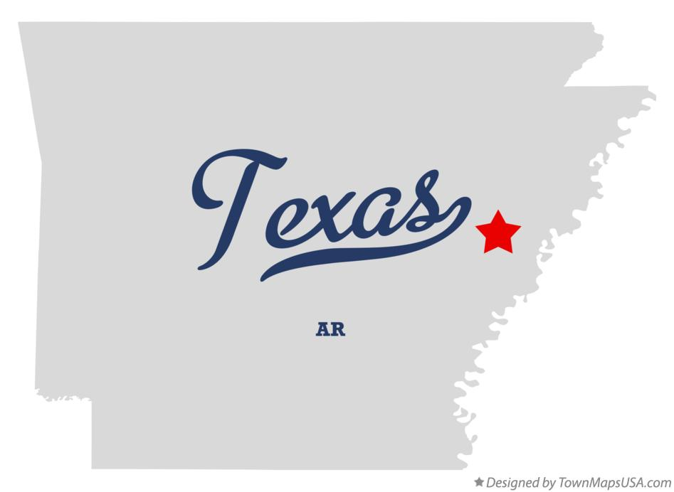 Map of Texas Arkansas AR