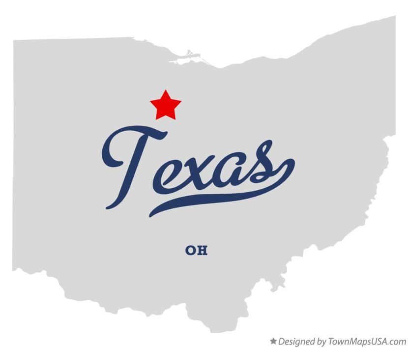 Map of Texas Ohio OH