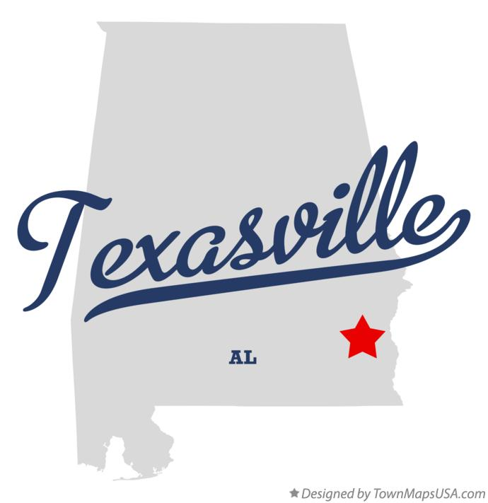 Map of Texasville Alabama AL