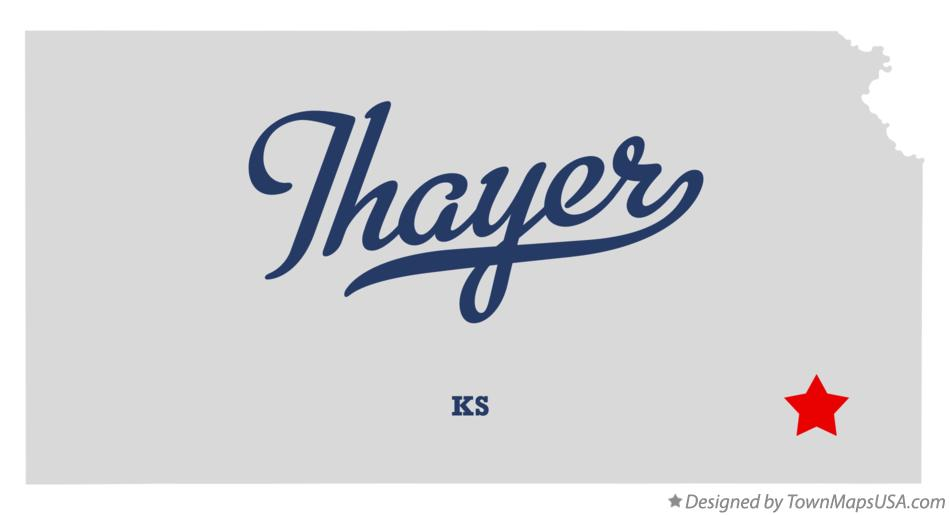 Map of Thayer Kansas KS