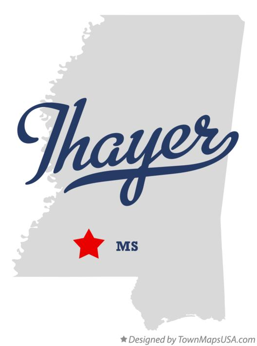 Map of Thayer Mississippi MS
