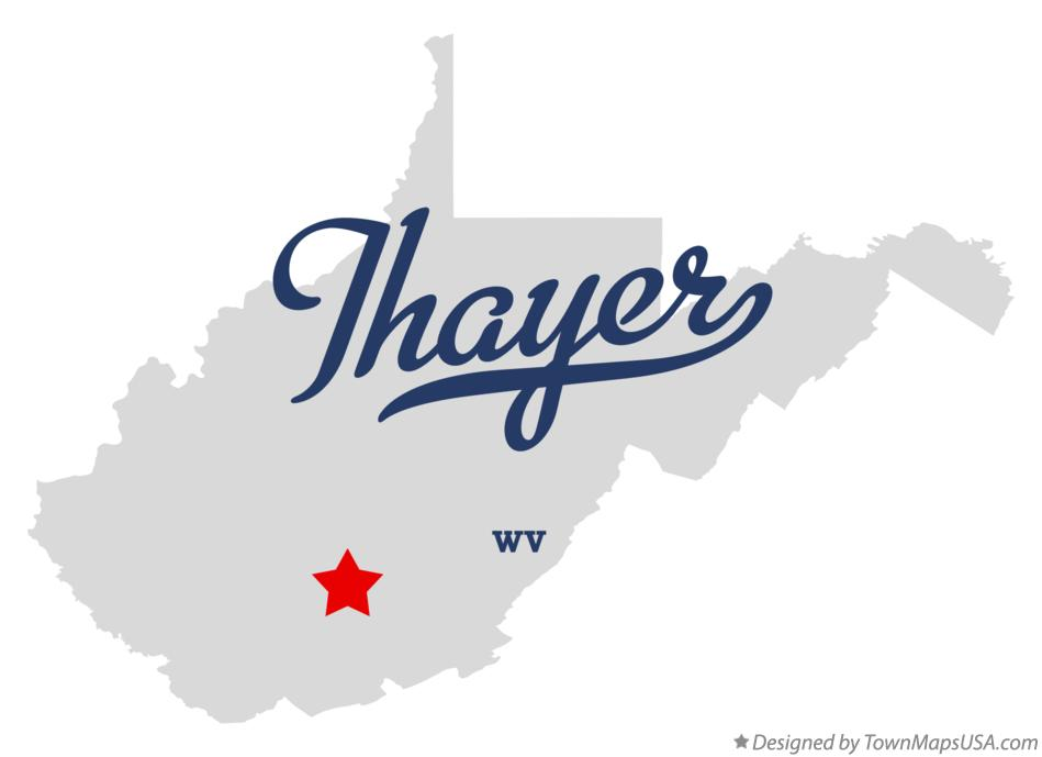 Map of Thayer West Virginia WV