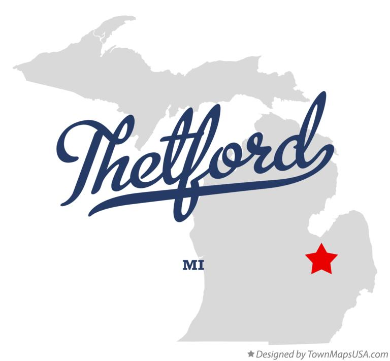 Map of Thetford Michigan MI
