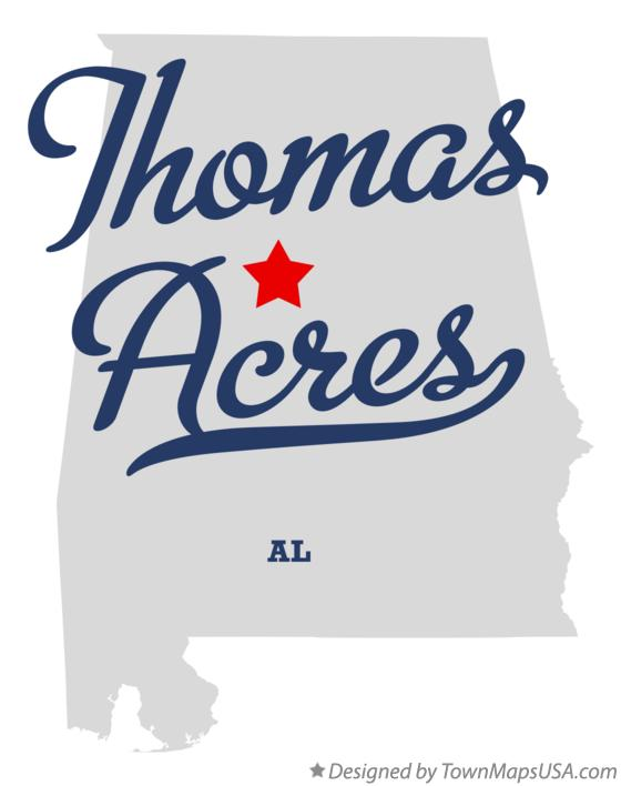 Map of Thomas Acres Alabama AL