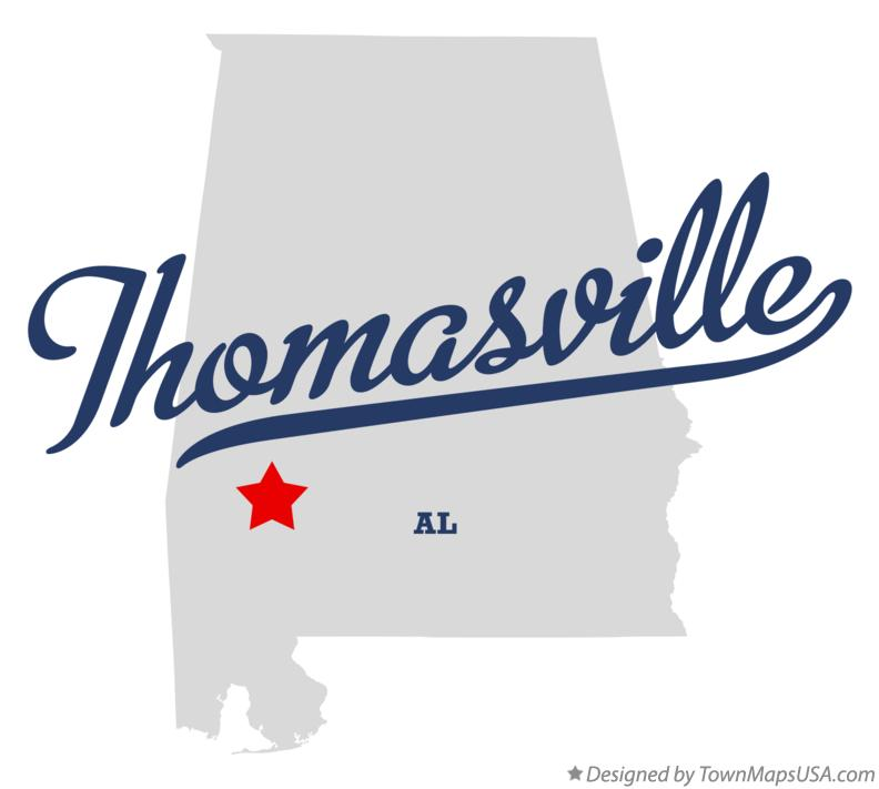 Map of Thomasville Alabama AL