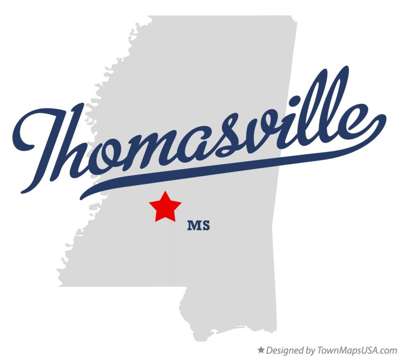 Map of Thomasville Mississippi MS