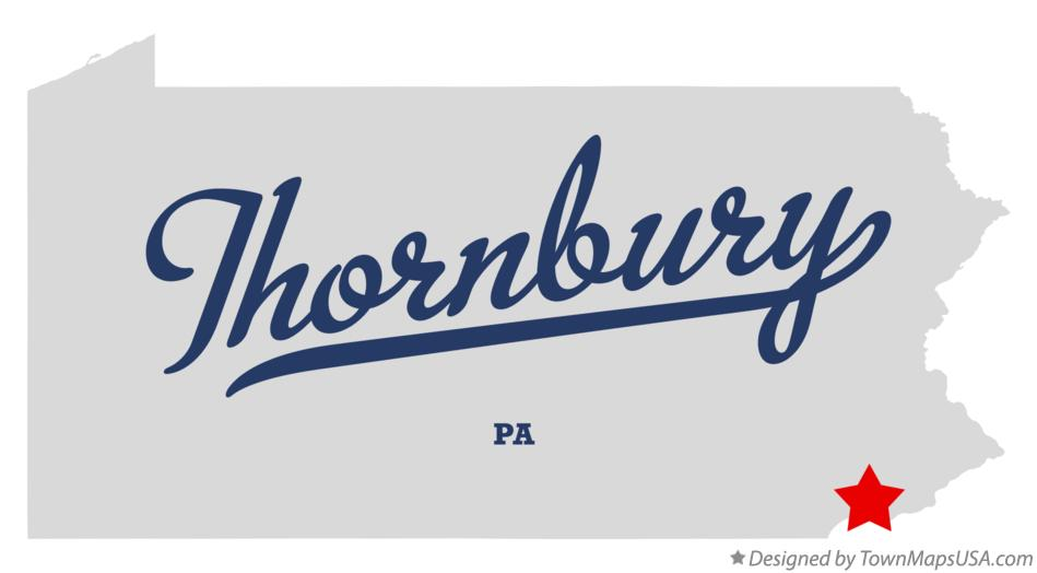 Map of Thornbury Pennsylvania PA