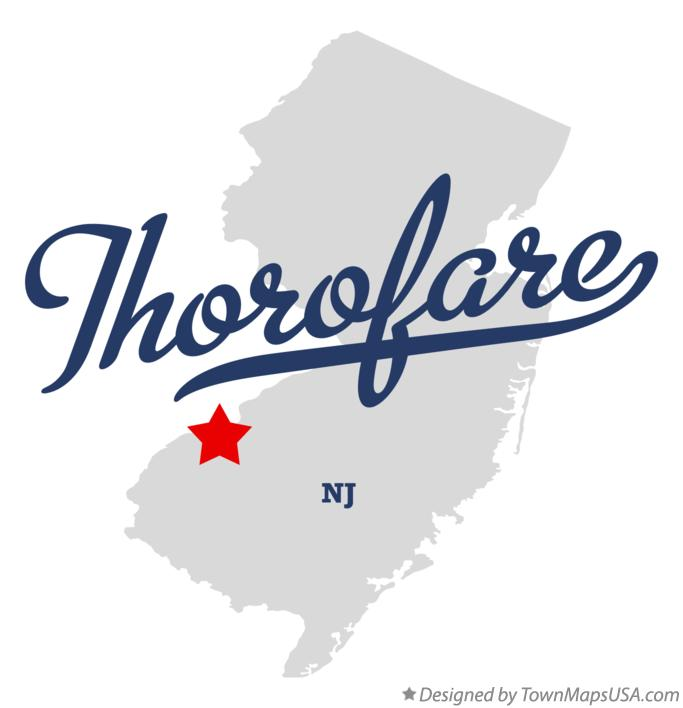 Map of Thorofare New Jersey NJ