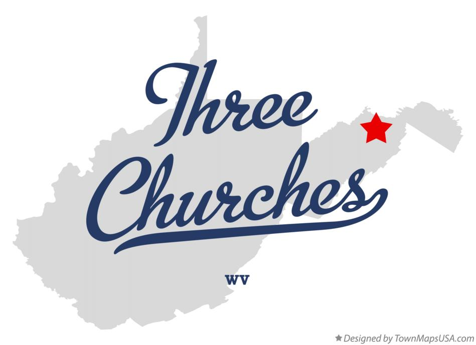 Map of Three Churches West Virginia WV