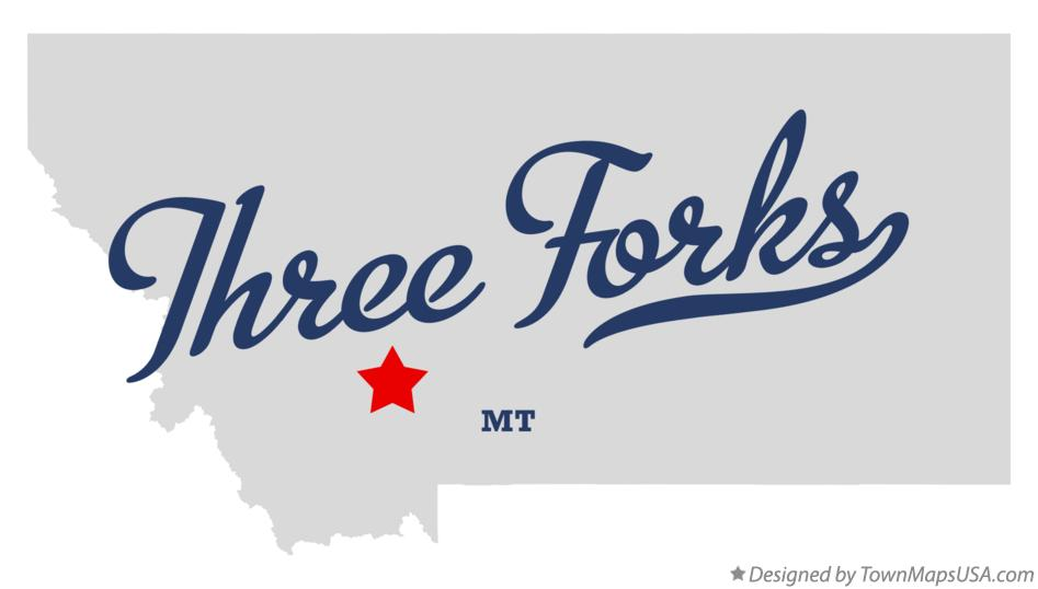 Map of Three Forks Montana MT