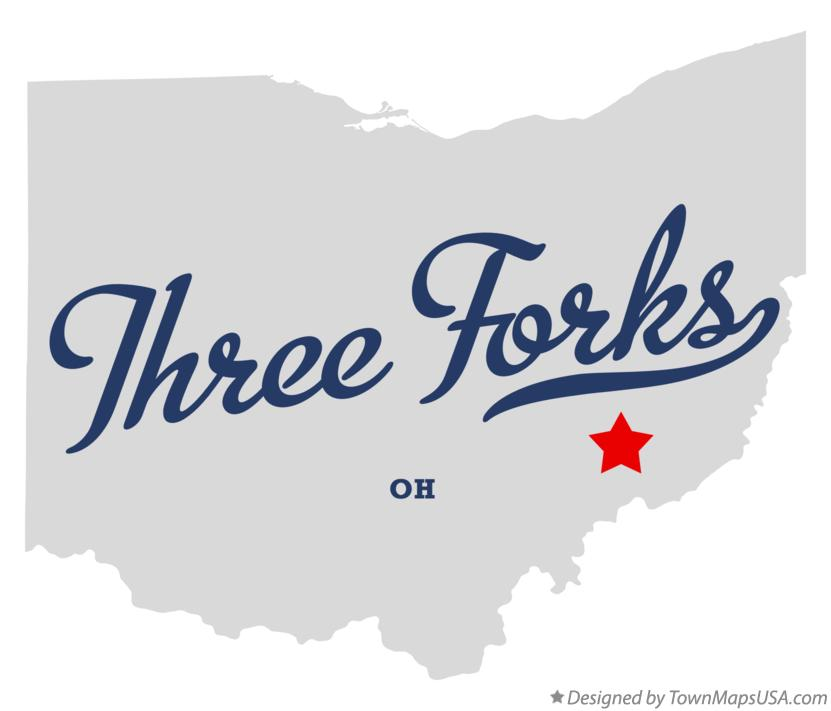 Map of Three Forks Ohio OH