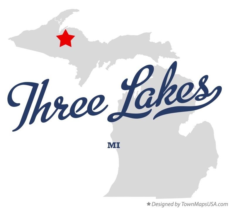 Map of Three Lakes Michigan MI