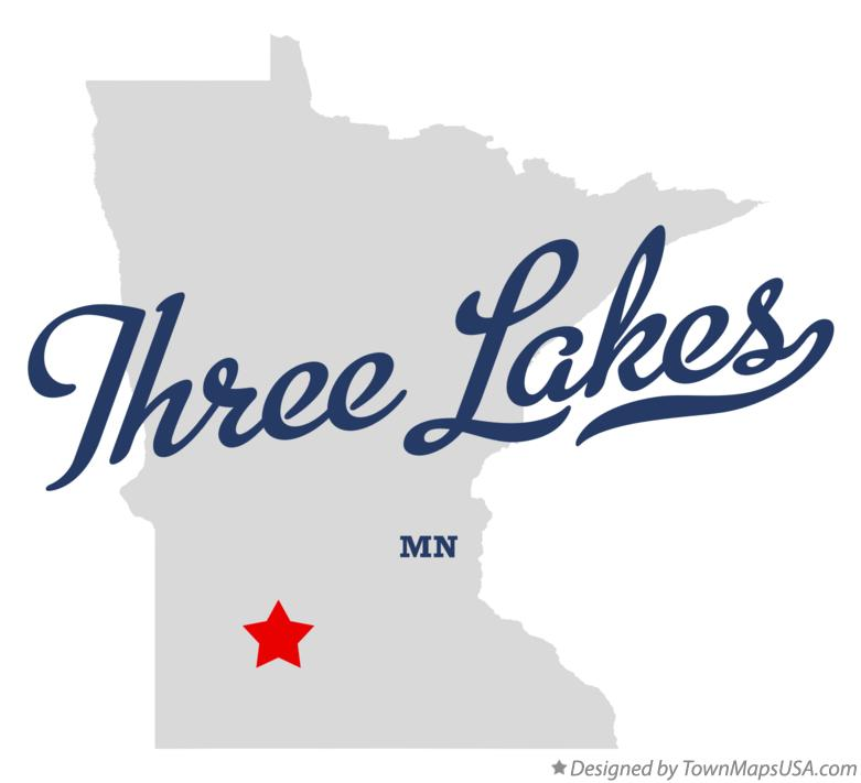 Map of Three Lakes Minnesota MN