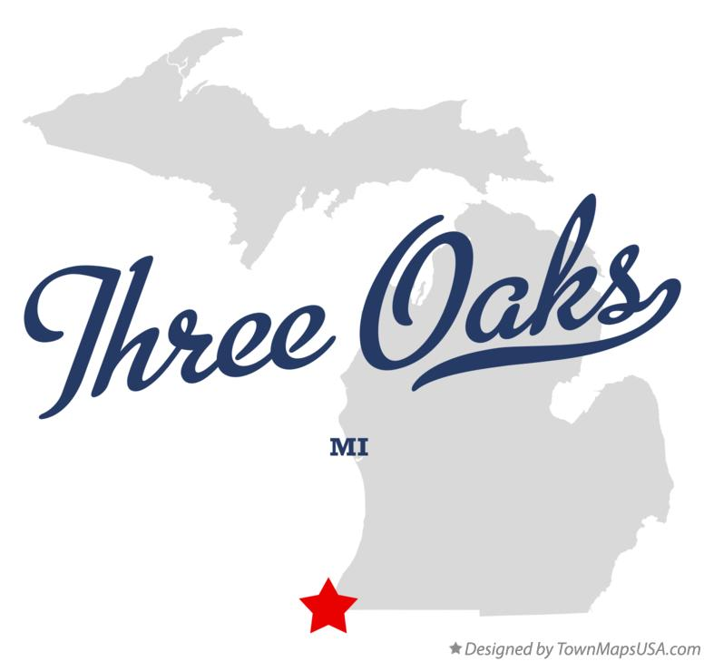 Map of Three Oaks Michigan MI