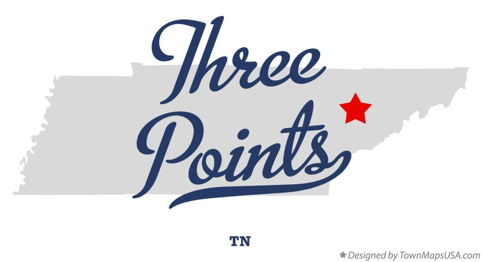 Map of Three Points Tennessee TN