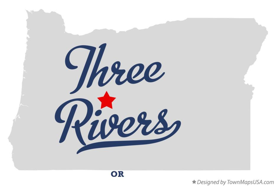 Map of Three Rivers Oregon OR