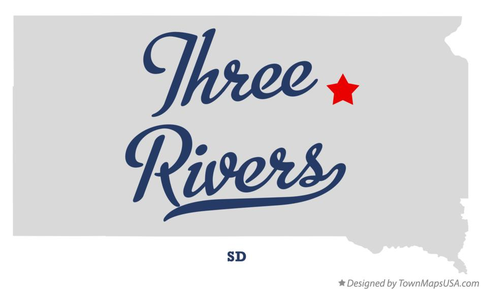 Map of Three Rivers South Dakota SD