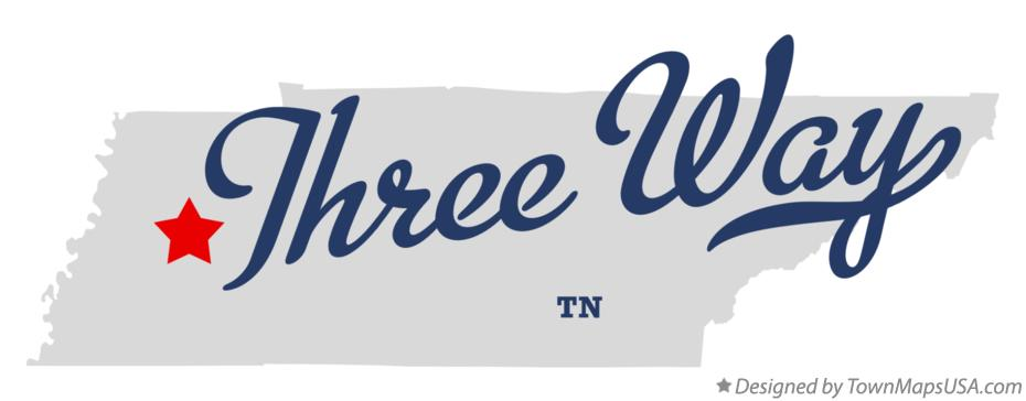 Map of Three Way Tennessee TN