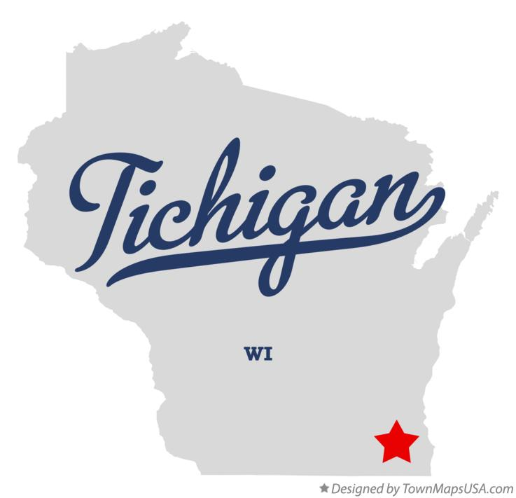 Map of Tichigan Wisconsin WI