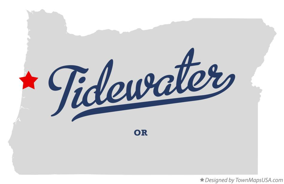Map of Tidewater Oregon OR