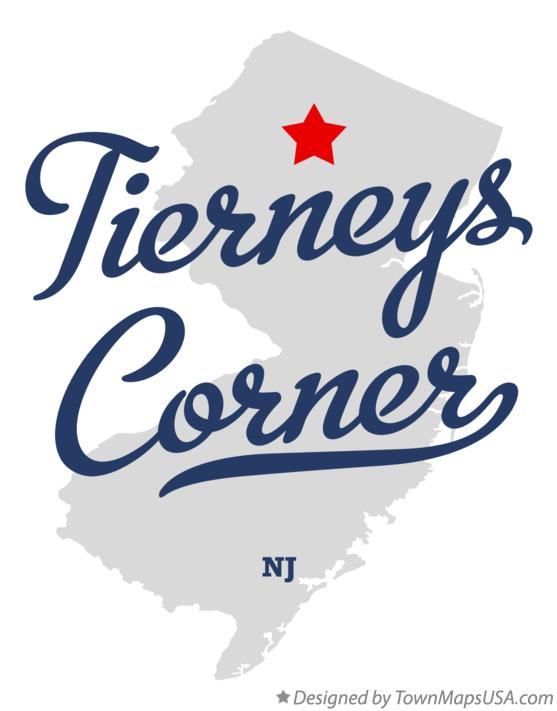 Map of Tierneys Corner New Jersey NJ